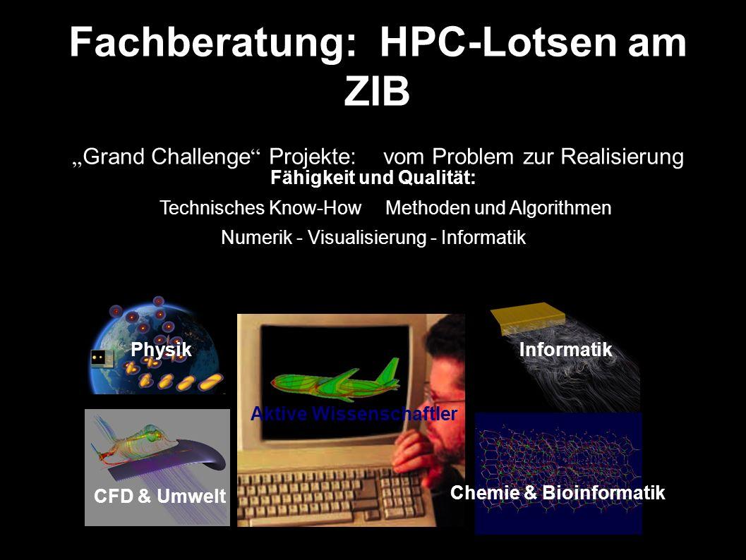 Fachberatung: HPC-Lotsen am ZIB Grand Challenge Projekte: vom Problem zur Realisierung Fähigkeit und Qualität: Technisches Know-How Methoden und Algorithmen Numerik - Visualisierung - Informatik Aktive Wissenschaftler CFD & Umwelt Chemie & Bioinformatik Informatik Physik