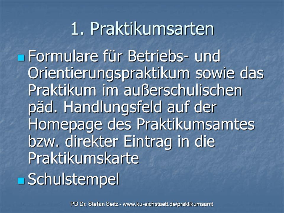 PD Dr. Stefan Seitz - www.ku-eichstaett.de/praktikumsamt 1. Praktikumsarten Formulare für Betriebs- und Orientierungspraktikum sowie das Praktikum im