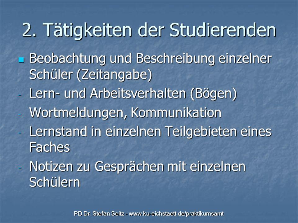 PD Dr. Stefan Seitz - www.ku-eichstaett.de/praktikumsamt 2. Tätigkeiten der Studierenden Beobachtung und Beschreibung einzelner Schüler (Zeitangabe) B