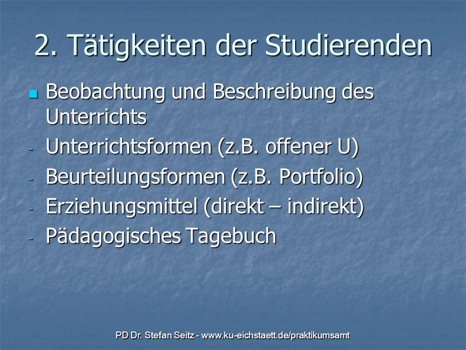 PD Dr. Stefan Seitz - www.ku-eichstaett.de/praktikumsamt 2. Tätigkeiten der Studierenden Beobachtung und Beschreibung des Unterrichts Beobachtung und