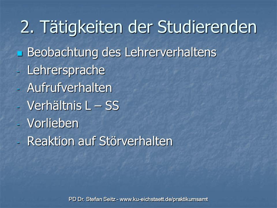 PD Dr. Stefan Seitz - www.ku-eichstaett.de/praktikumsamt 2. Tätigkeiten der Studierenden Beobachtung des Lehrerverhaltens Beobachtung des Lehrerverhal