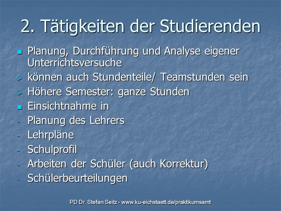 PD Dr. Stefan Seitz - www.ku-eichstaett.de/praktikumsamt 2. Tätigkeiten der Studierenden Planung, Durchführung und Analyse eigener Unterrichtsversuche