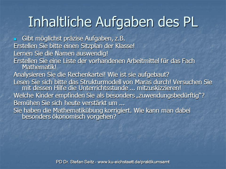 PD Dr. Stefan Seitz - www.ku-eichstaett.de/praktikumsamt Inhaltliche Aufgaben des PL Gibt möglichst präzise Aufgaben, z.B. Gibt möglichst präzise Aufg