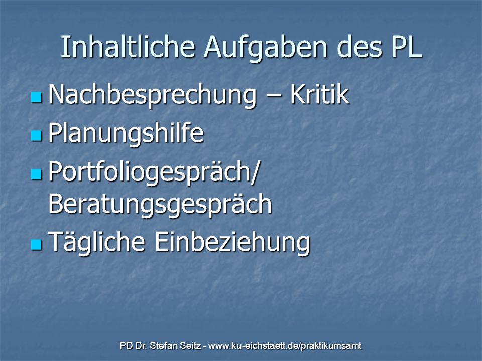 PD Dr. Stefan Seitz - www.ku-eichstaett.de/praktikumsamt Inhaltliche Aufgaben des PL Nachbesprechung – Kritik Nachbesprechung – Kritik Planungshilfe P