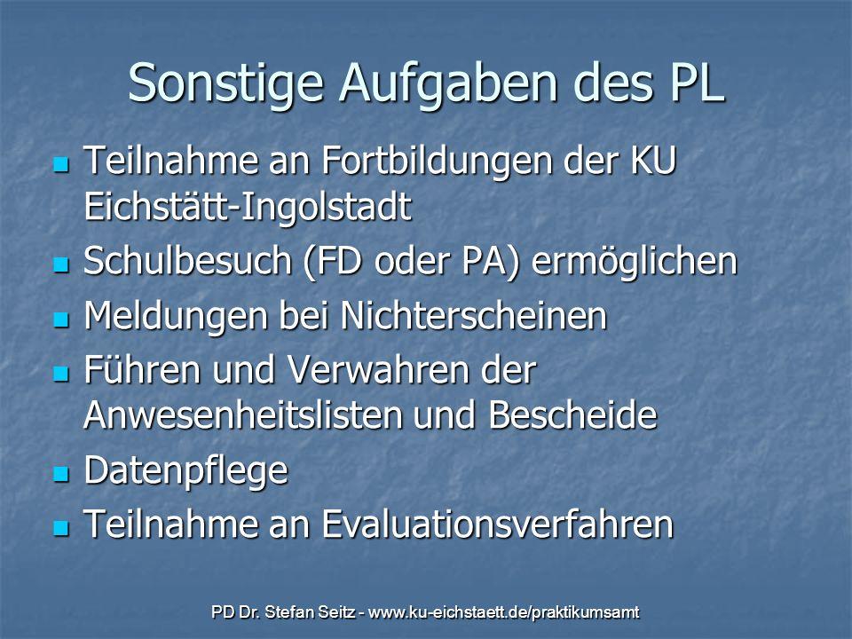 PD Dr. Stefan Seitz - www.ku-eichstaett.de/praktikumsamt Sonstige Aufgaben des PL Teilnahme an Fortbildungen der KU Eichstätt-Ingolstadt Teilnahme an