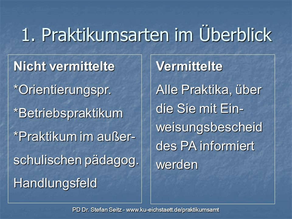 PD Dr.Stefan Seitz - www.ku-eichstaett.de/praktikumsamt 1.