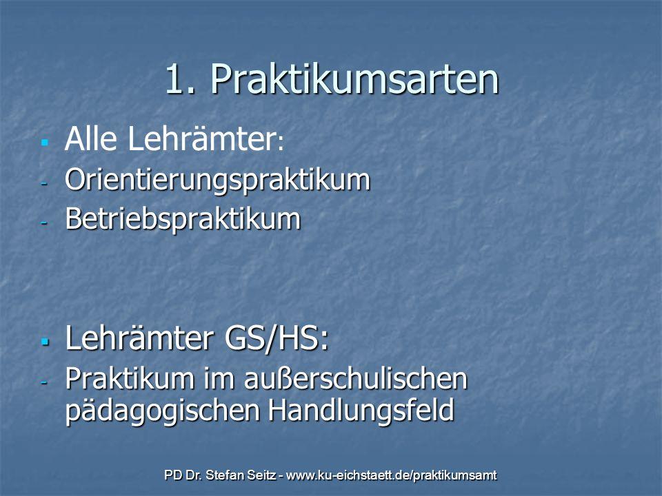 PD Dr. Stefan Seitz - www.ku-eichstaett.de/praktikumsamt 1. Praktikumsarten Alle Lehrämter : - Orientierungspraktikum - Betriebspraktikum Lehrämter GS