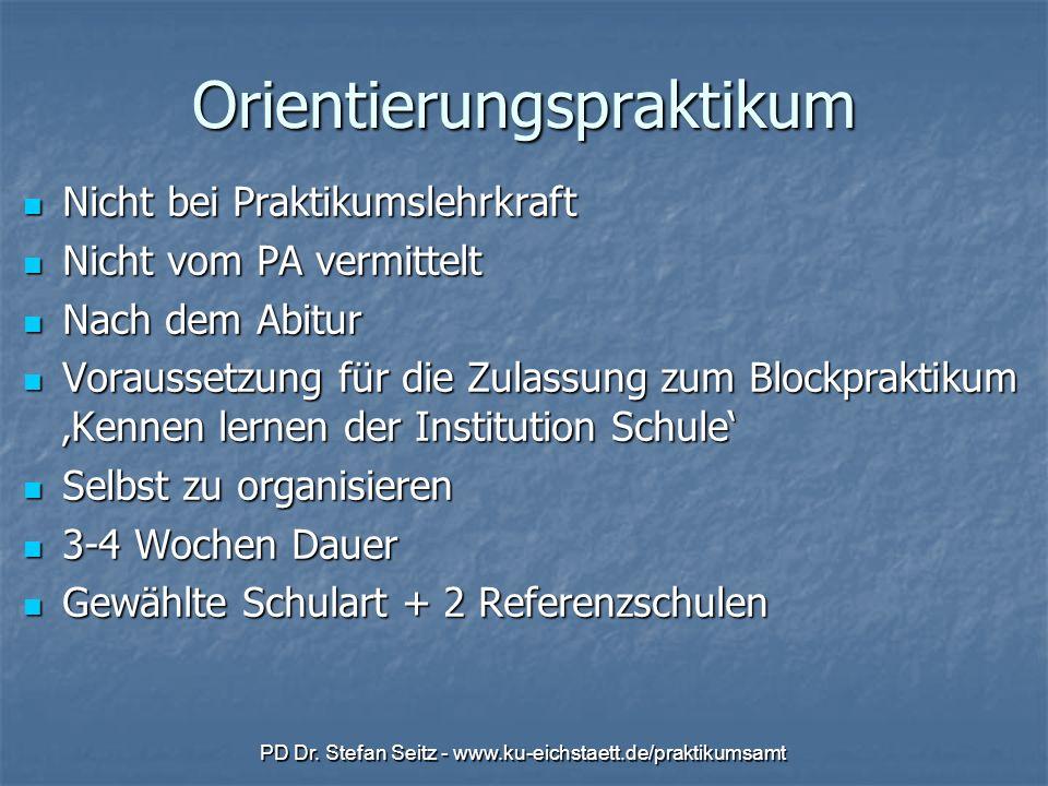 PD Dr. Stefan Seitz - www.ku-eichstaett.de/praktikumsamt Orientierungspraktikum Nicht bei Praktikumslehrkraft Nicht bei Praktikumslehrkraft Nicht vom