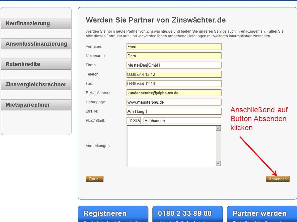 Im Anschluss erhalten Sie diese Bestätigung und eine Mail zur Registrierung.