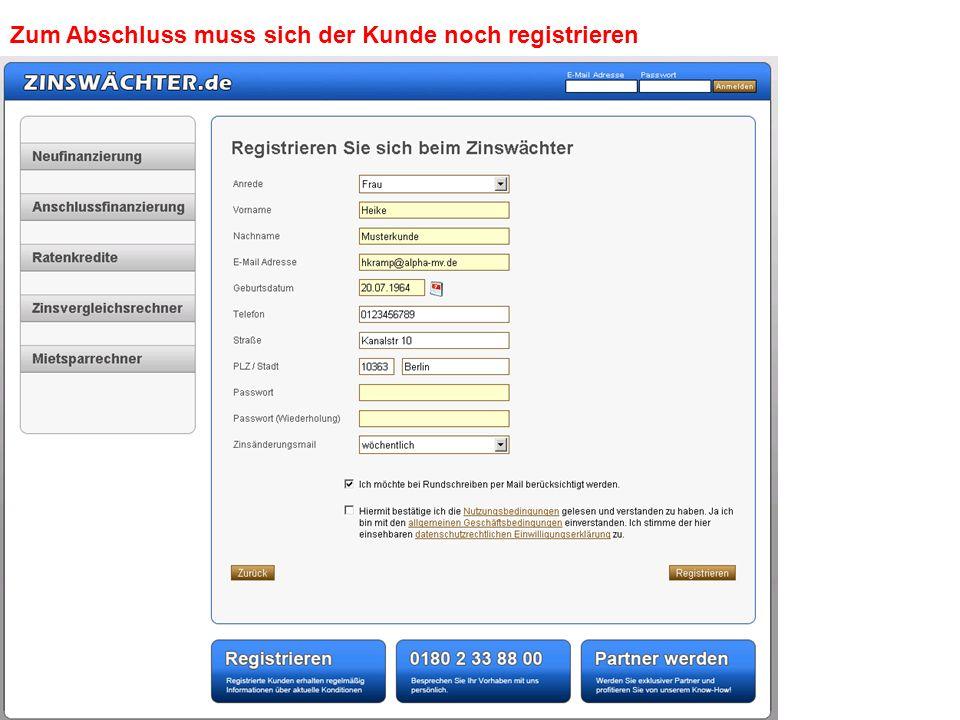 Selbst gewähltes Passwort eingeben Häkchen für Bestätigungen setzen Registrieren