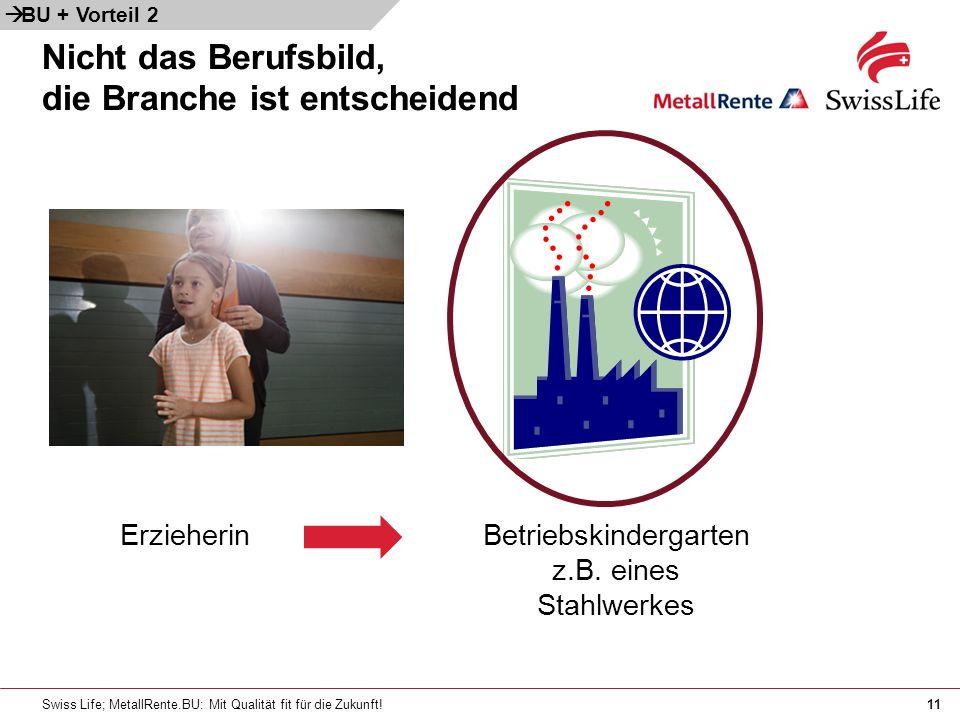 Swiss Life; MetallRente.BU: Mit Qualität fit für die Zukunft!11 Nicht das Berufsbild, die Branche ist entscheidend ErzieherinBetriebskindergarten z.B.