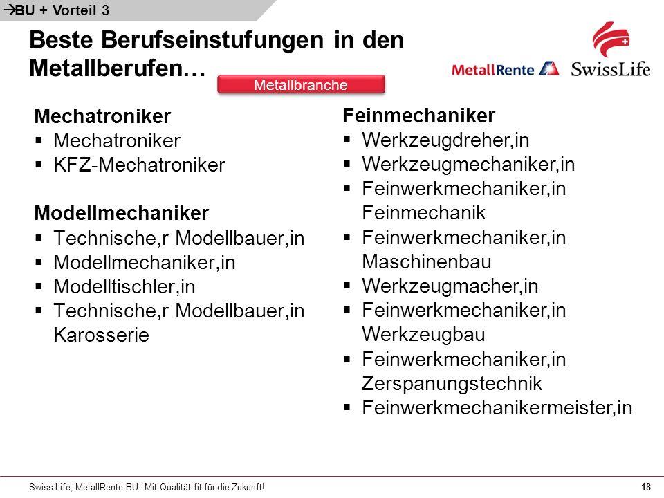 Swiss Life; MetallRente.BU: Mit Qualität fit für die Zukunft!18 Beste Berufseinstufungen in den Metallberufen… Mechatroniker KFZ-Mechatroniker Modellm