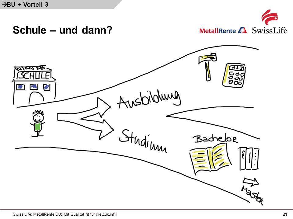 Swiss Life; MetallRente.BU: Mit Qualität fit für die Zukunft!21 Schule – und dann? BU + Vorteil 3