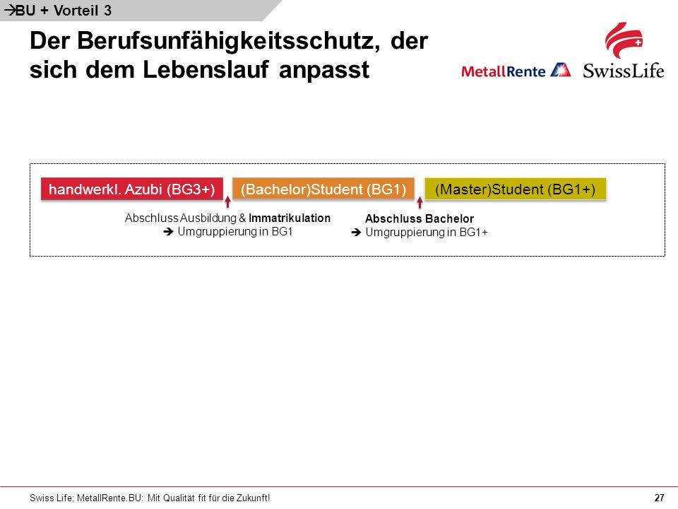 Swiss Life; MetallRente.BU: Mit Qualität fit für die Zukunft!27 handwerkl.