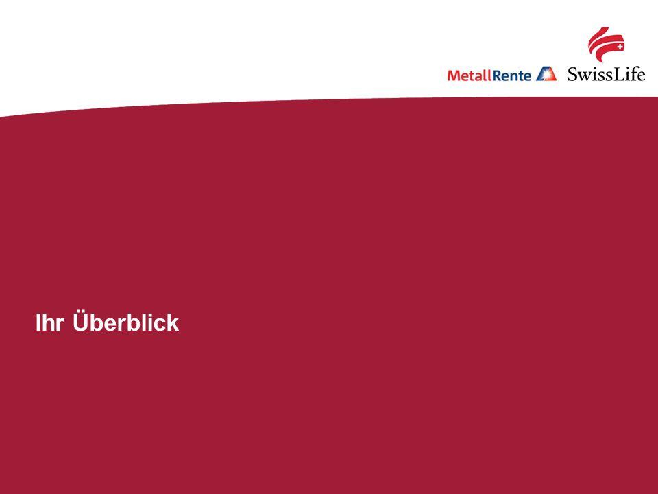 Swiss Life; MetallRente.BU: Mit Qualität fit für die Zukunft!31 Ihr Überblick