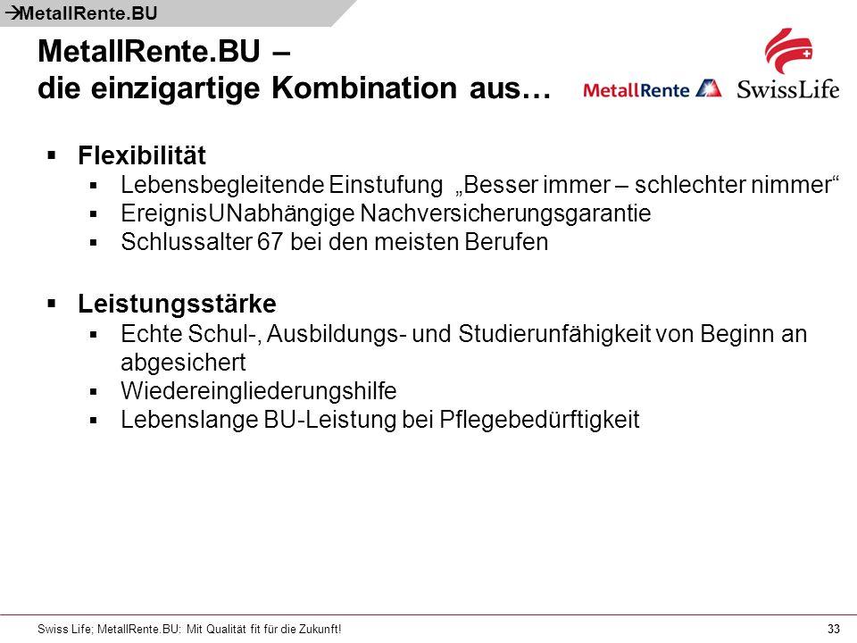 Swiss Life; MetallRente.BU: Mit Qualität fit für die Zukunft!33 MetallRente.BU – die einzigartige Kombination aus… Flexibilität Lebensbegleitende Eins