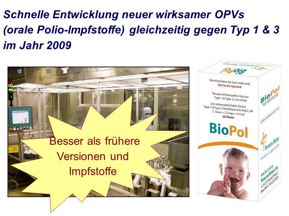 Schnelle Entwicklung neuer wirksamer OPVs (orale Polio-Impfstoffe) gleichzeitig gegen Typ 1 & 3 im Jahr 2009 Besser als frühere Versionen und Impfstoffe