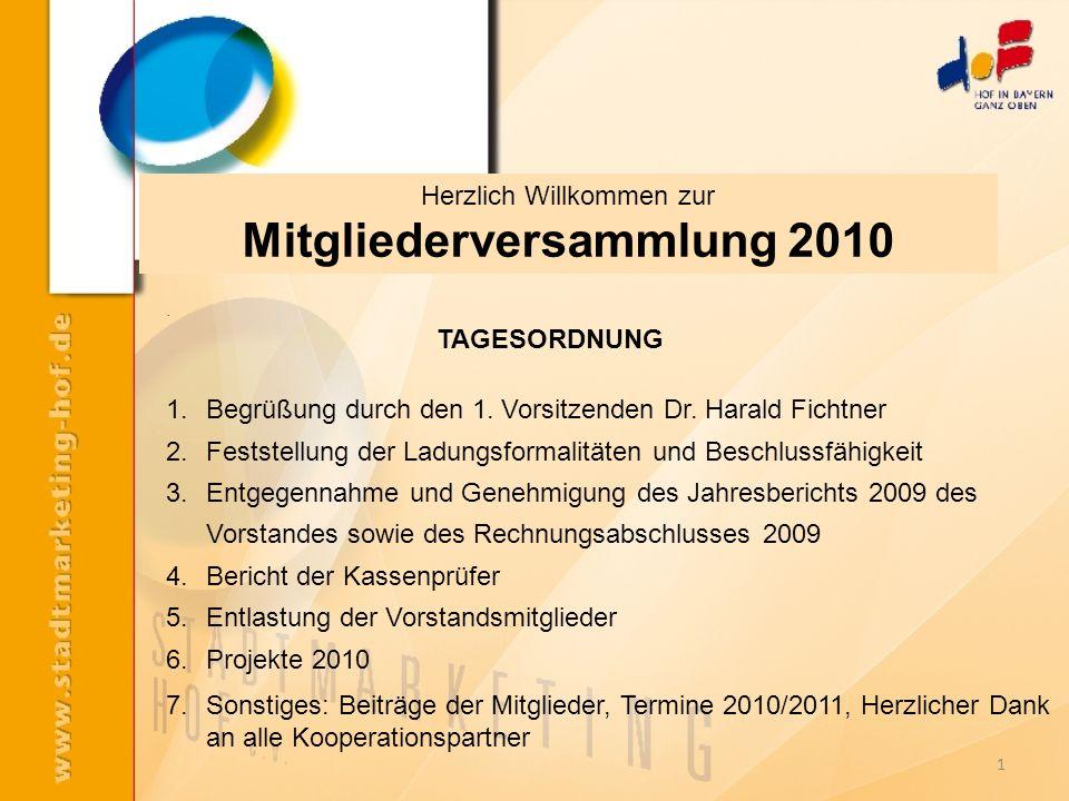 1. TAGESORDNUNG 1.Begrüßung durch den 1. Vorsitzenden Dr. Harald Fichtner 2.Feststellung der Ladungsformalitäten und Beschlussfähigkeit 3.Entgegennahm