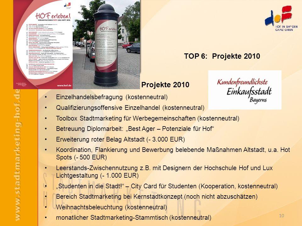 10 Projekte 2010 Einzelhandelsbefragung (kostenneutral) Qualifizierungsoffensive Einzelhandel (kostenneutral) Toolbox Stadtmarketing für Werbegemeinsc
