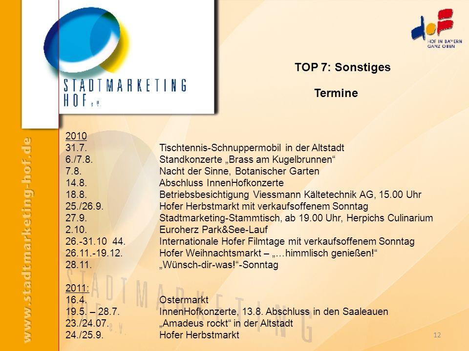 12 2010 31.7.Tischtennis-Schnuppermobil in der Altstadt 6./7.8. Standkonzerte Brass am Kugelbrunnen 7.8.Nacht der Sinne, Botanischer Garten 14.8. Absc