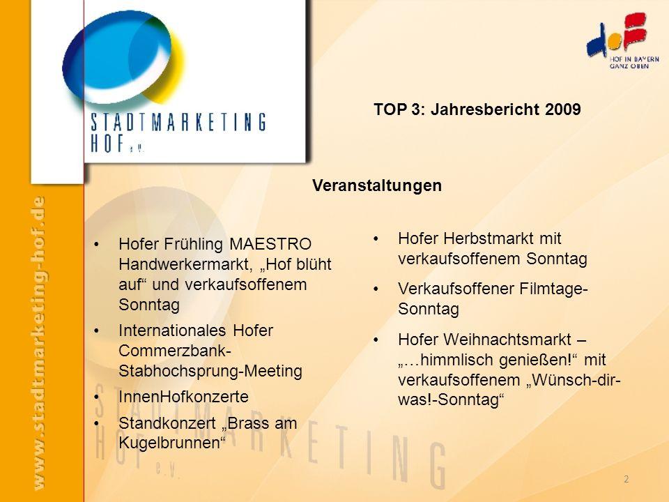 TOP 3: Jahresbericht 2009 Hofer Frühling MAESTRO Handwerkermarkt, Hof blüht auf und verkaufsoffenem Sonntag Internationales Hofer Commerzbank- Stabhoc
