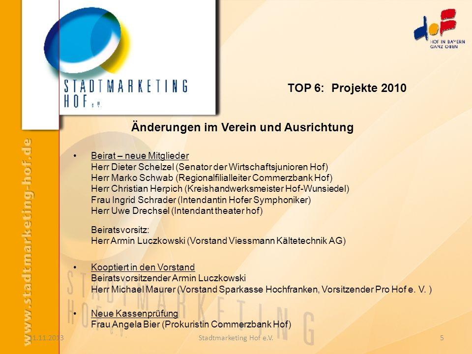 11.11.2013Stadtmarketing Hof e.V.5 Änderungen im Verein und Ausrichtung Beirat – neue Mitglieder Herr Dieter Schelzel (Senator der Wirtschaftsjunioren