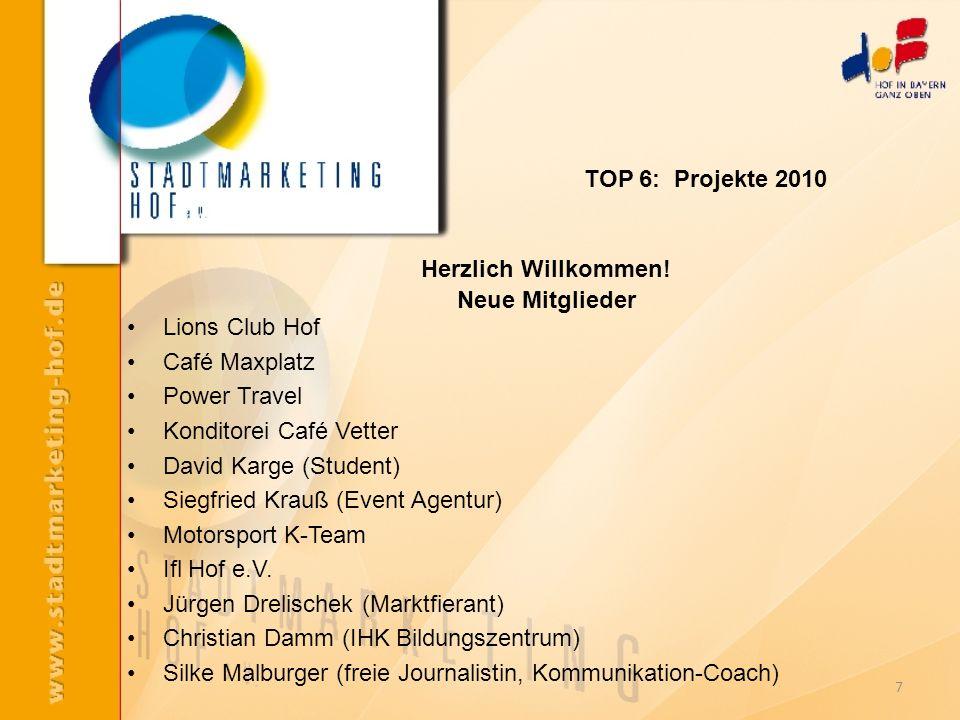 Herzlich Willkommen! Neue Mitglieder Lions Club Hof Café Maxplatz Power Travel Konditorei Café Vetter David Karge (Student) Siegfried Krauß (Event Age