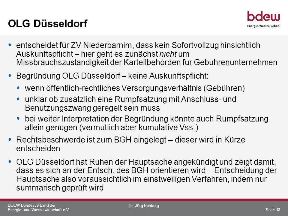 BDEW Bundesverband der Energie- und Wasserwirtschaft e.V. OLG Düsseldorf entscheidet für ZV Niederbarnim, dass kein Sofortvollzug hinsichtlich Auskunf