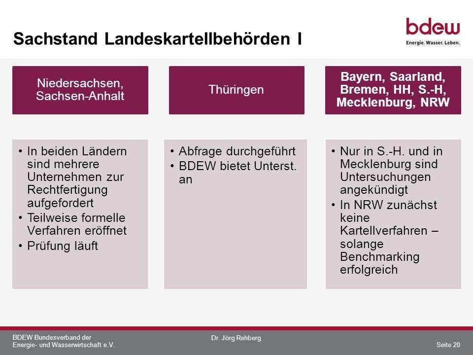 BDEW Bundesverband der Energie- und Wasserwirtschaft e.V. Sachstand Landeskartellbehörden I Niedersachsen, Sachsen-Anhalt In beiden Ländern sind mehre