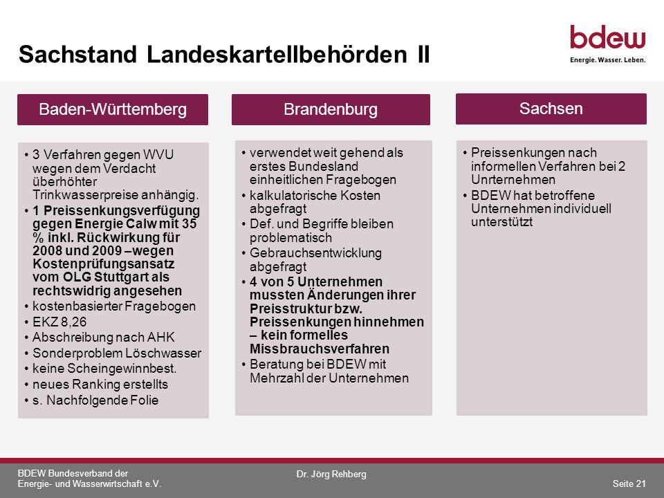 BDEW Bundesverband der Energie- und Wasserwirtschaft e.V. Sachstand Landeskartellbehörden II Baden-Württemberg 3 Verfahren gegen WVU wegen dem Verdach