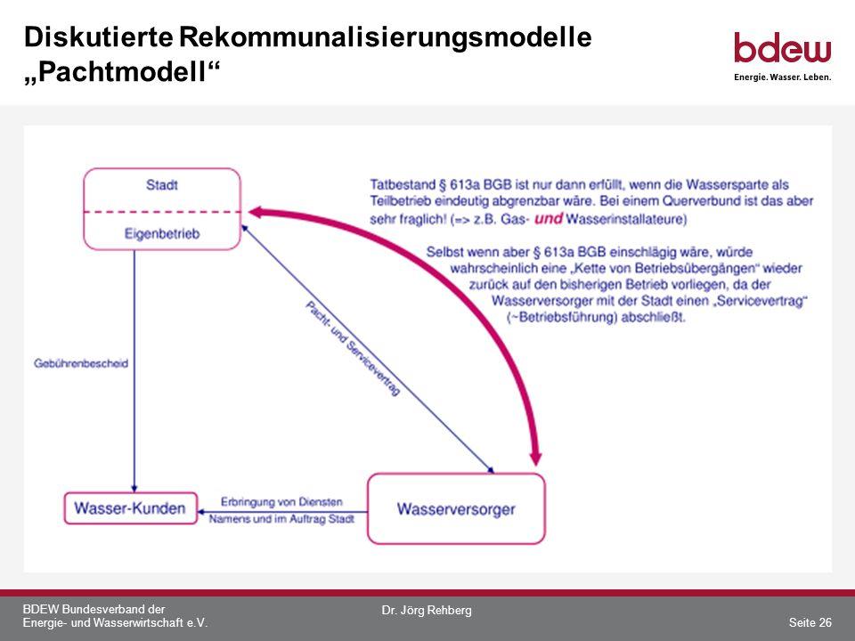 BDEW Bundesverband der Energie- und Wasserwirtschaft e.V. Diskutierte Rekommunalisierungsmodelle Pachtmodell Dr. Jörg Rehberg Seite 26