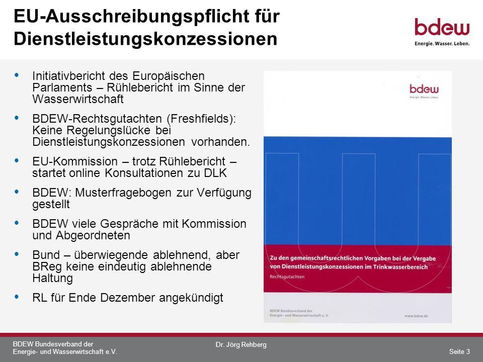 BDEW Bundesverband der Energie- und Wasserwirtschaft e.V. EU-Ausschreibungspflicht für Dienstleistungskonzessionen Initiativbericht des Europäischen P