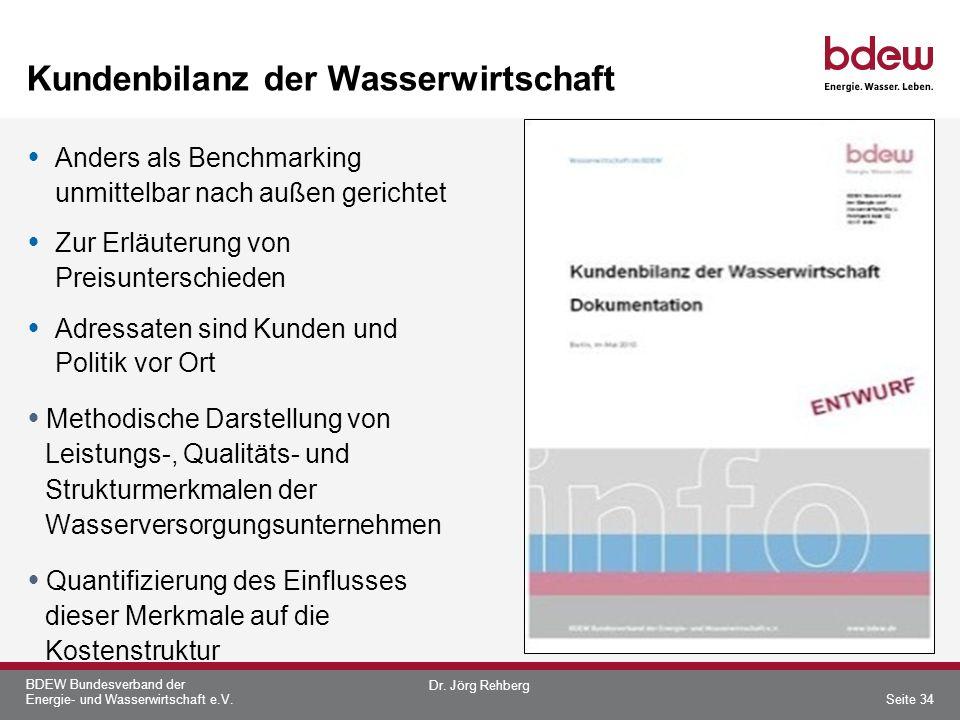 BDEW Bundesverband der Energie- und Wasserwirtschaft e.V. Kundenbilanz der Wasserwirtschaft Anders als Benchmarking unmittelbar nach außen gerichtet Z