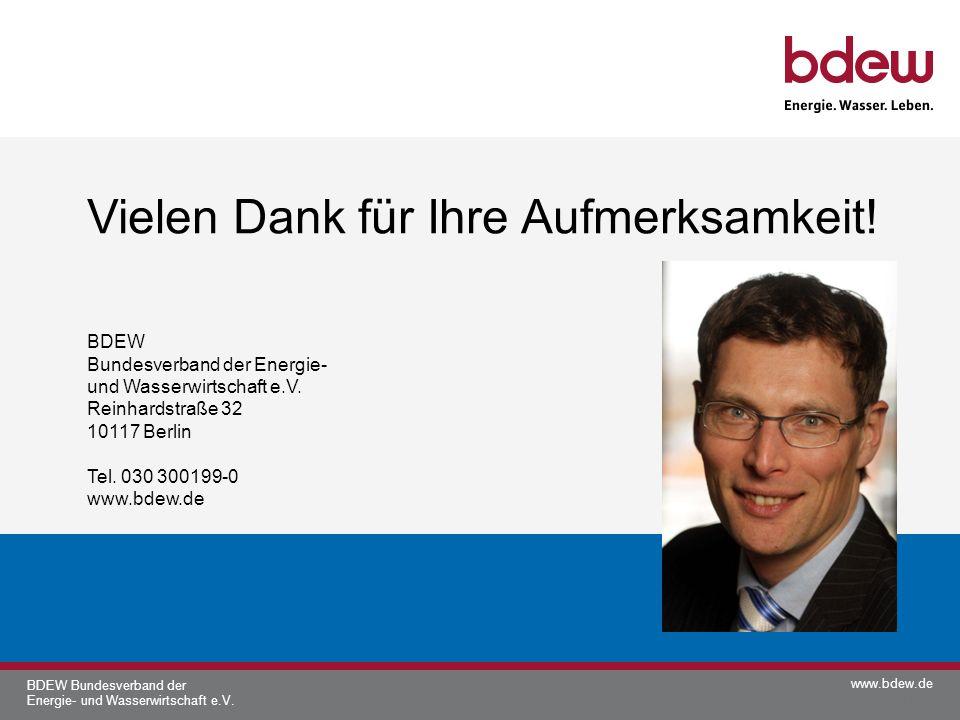 www.bdew.de BDEW Bundesverband der Energie- und Wasserwirtschaft e.V. Vielen Dank für Ihre Aufmerksamkeit! BDEW Bundesverband der Energie- und Wasserw