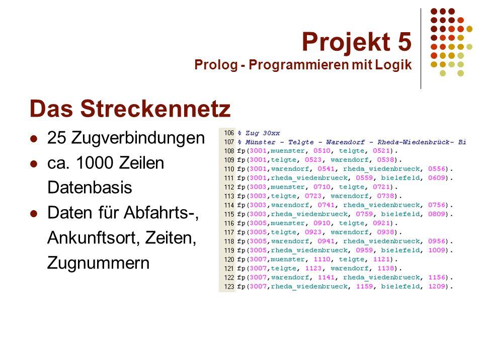 Projekt 5 Prolog - Programmieren mit Logik Die Implementierung Backtracking Patternmatching Zuhilfenahme von imperativen Programmelementen für die Programmoberfläche