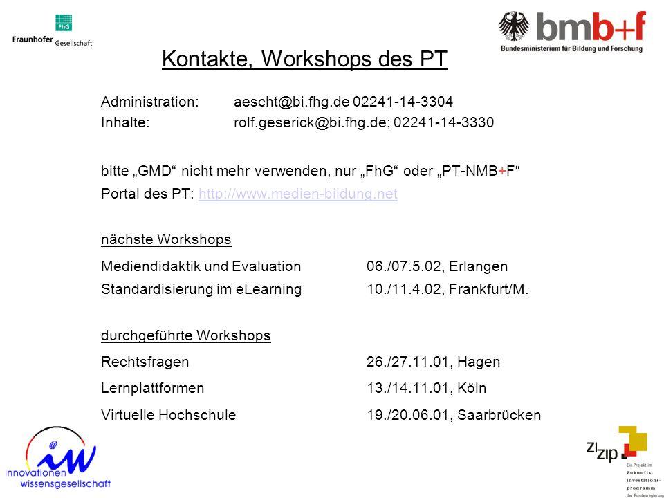 Kontakte, Workshops des PT Administration: aescht@bi.fhg.de 02241-14-3304 Inhalte:rolf.geserick@bi.fhg.de; 02241-14-3330 bitte GMD nicht mehr verwende