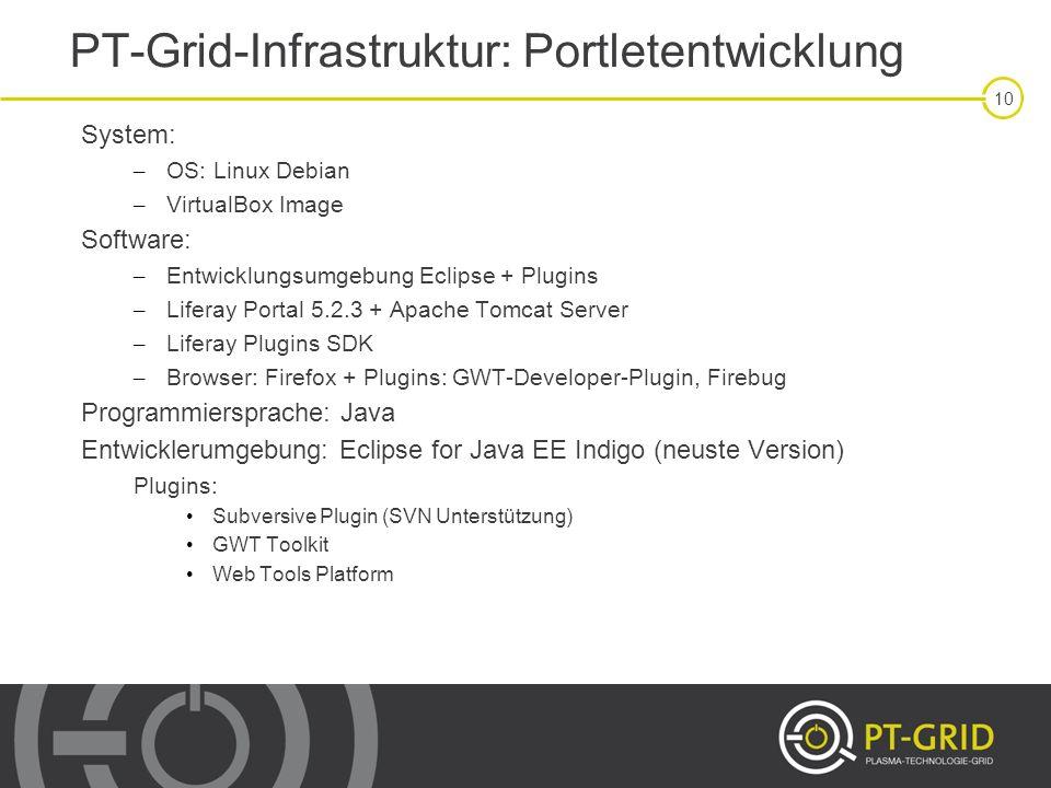 10 System: – OS: Linux Debian – VirtualBox Image Software: – Entwicklungsumgebung Eclipse + Plugins – Liferay Portal 5.2.3 + Apache Tomcat Server – Li