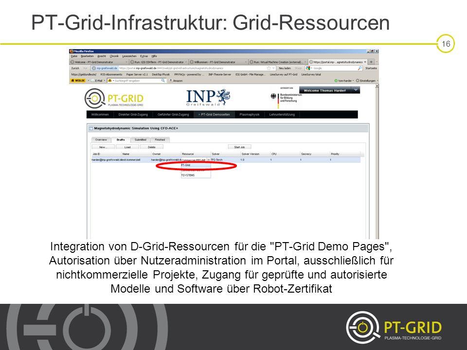 16 PT-Grid-Infrastruktur: Grid-Ressourcen Integration von D-Grid-Ressourcen für die
