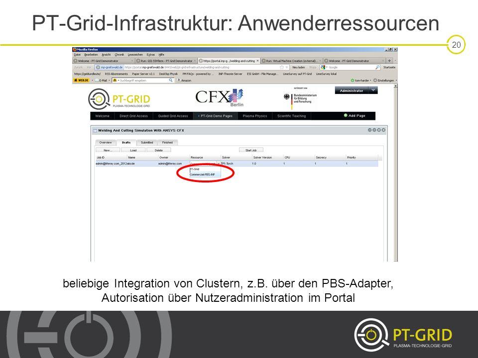 20 PT-Grid-Infrastruktur: Anwenderressourcen beliebige Integration von Clustern, z.B. über den PBS-Adapter, Autorisation über Nutzeradministration im