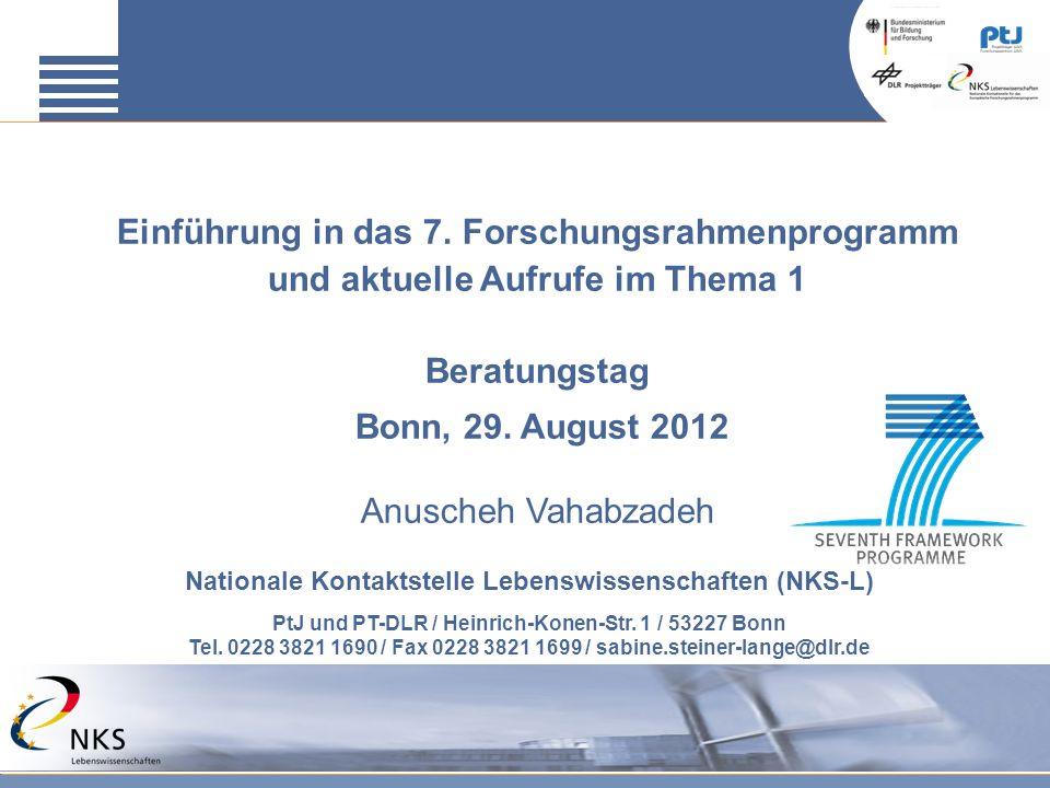 Einführung in das 7. Forschungsrahmenprogramm und aktuelle Aufrufe im Thema 1 Beratungstag Bonn, 29. August 2012 Anuscheh Vahabzadeh Nationale Kontakt