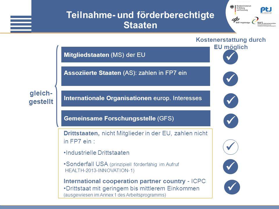 Teilnahme- und förderberechtigte Staaten gleich- gestellt Mitgliedstaaten (MS) der EU Assoziierte Staaten (AS): zahlen in FP7 ein Drittstaaten, nicht