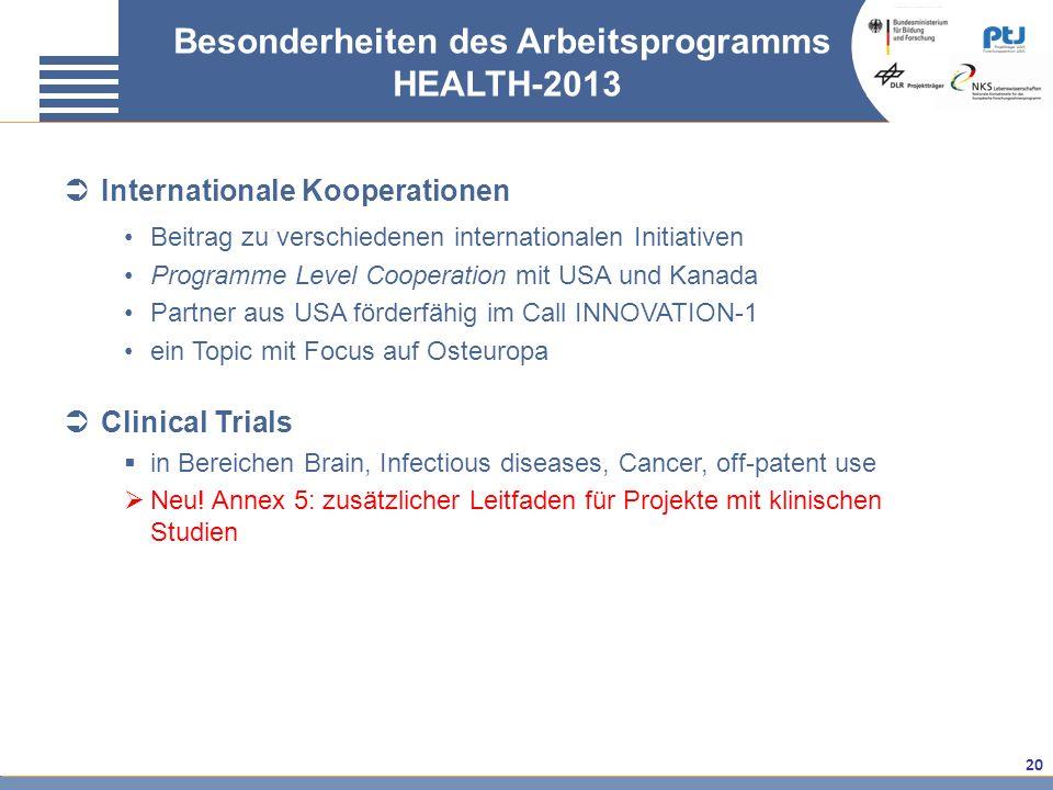 20 Besonderheiten des Arbeitsprogramms HEALTH-2013 Internationale Kooperationen Beitrag zu verschiedenen internationalen Initiativen Programme Level C