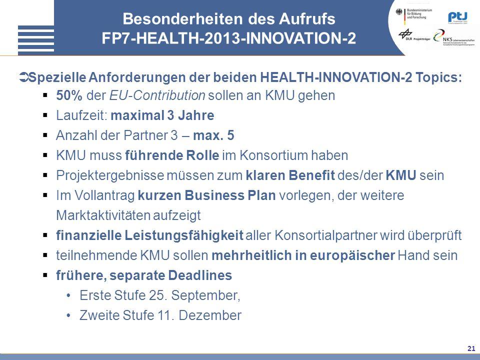 21 Besonderheiten des Aufrufs FP7-HEALTH-2013-INNOVATION-2 Spezielle Anforderungen der beiden HEALTH-INNOVATION-2 Topics: 50% der EU-Contribution soll