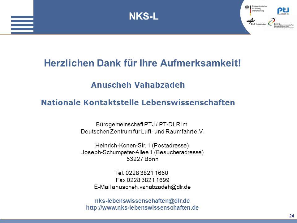 24 Anuscheh Vahabzadeh Nationale Kontaktstelle Lebenswissenschaften Bürogemeinschaft PTJ / PT-DLR im Deutschen Zentrum für Luft- und Raumfahrt e.V. He