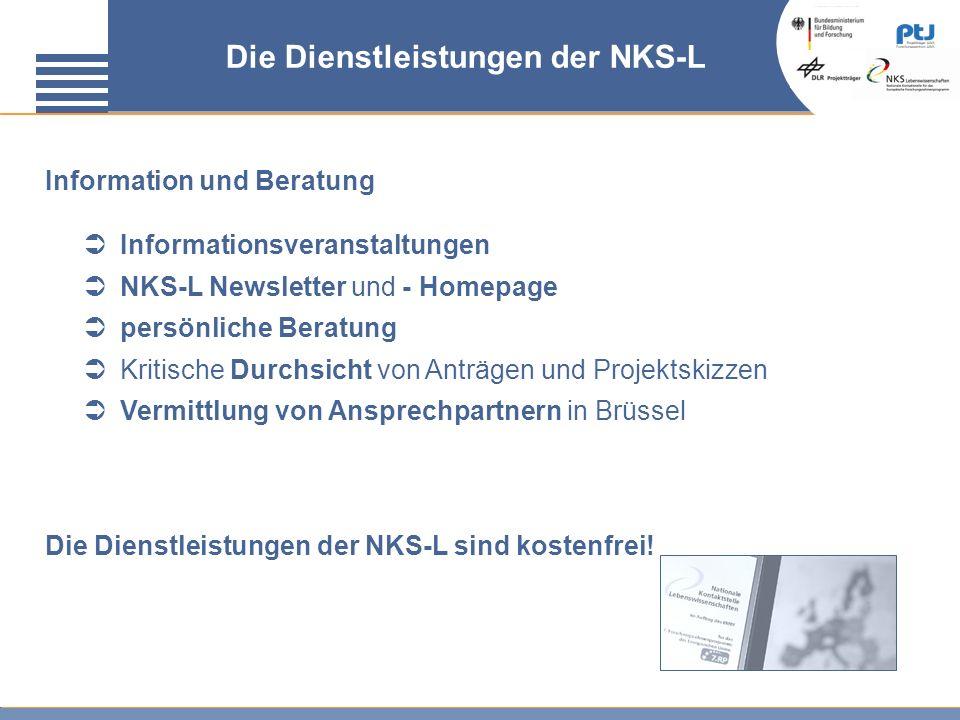 Die Dienstleistungen der NKS-L Information und Beratung Informationsveranstaltungen NKS-L Newsletter und - Homepage persönliche Beratung Kritische Dur