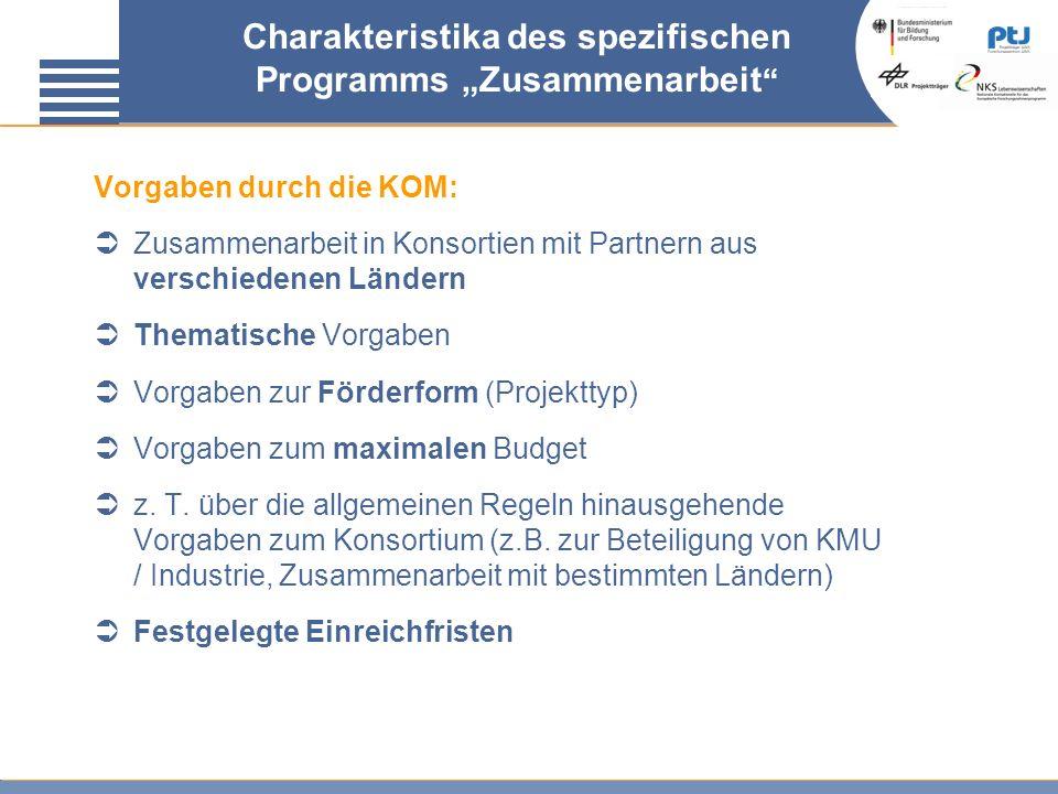 Charakteristika des spezifischen Programms Zusammenarbeit Vorgaben durch die KOM: Zusammenarbeit in Konsortien mit Partnern aus verschiedenen Ländern