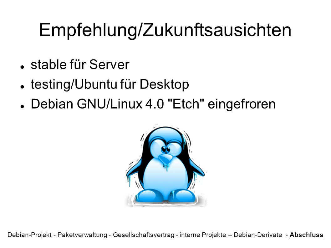 Empfehlung/Zukunftsausichten stable für Server testing/Ubuntu für Desktop Debian GNU/Linux 4.0