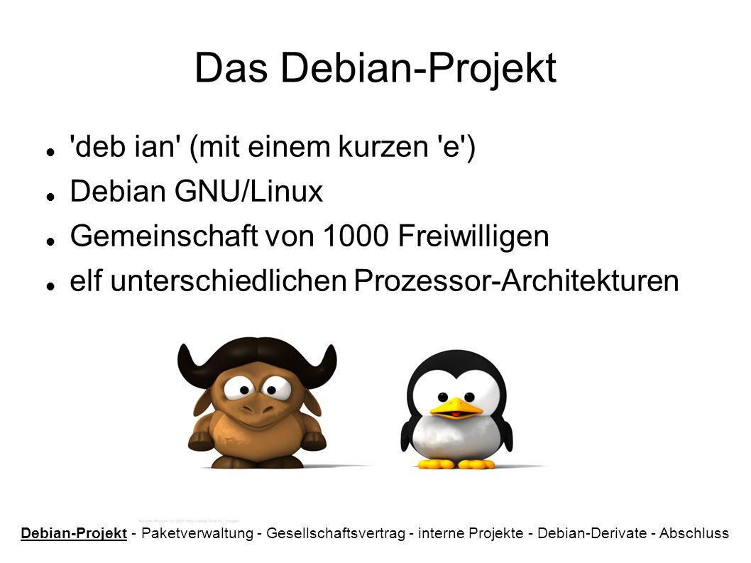 Das Debian-Projekt 'deb ian' (mit einem kurzen 'e') Debian GNU/Linux Gemeinschaft von 1000 Freiwilligen elf unterschiedlichen Prozessor-Architekturen