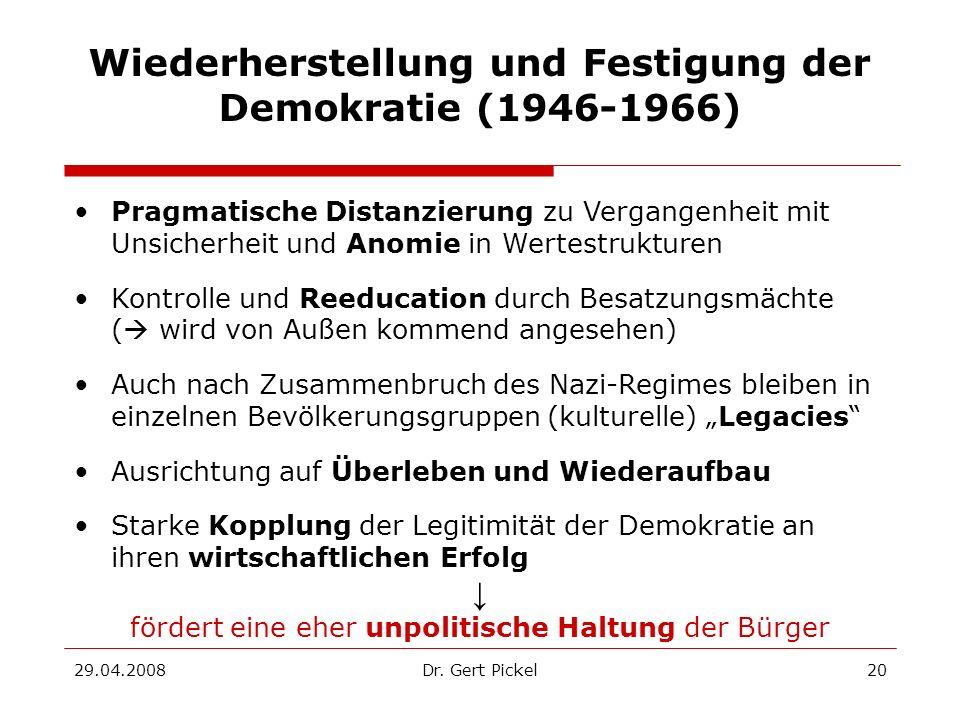 29.04.2008Dr. Gert Pickel20 Wiederherstellung und Festigung der Demokratie (1946-1966) Pragmatische Distanzierung zu Vergangenheit mit Unsicherheit un