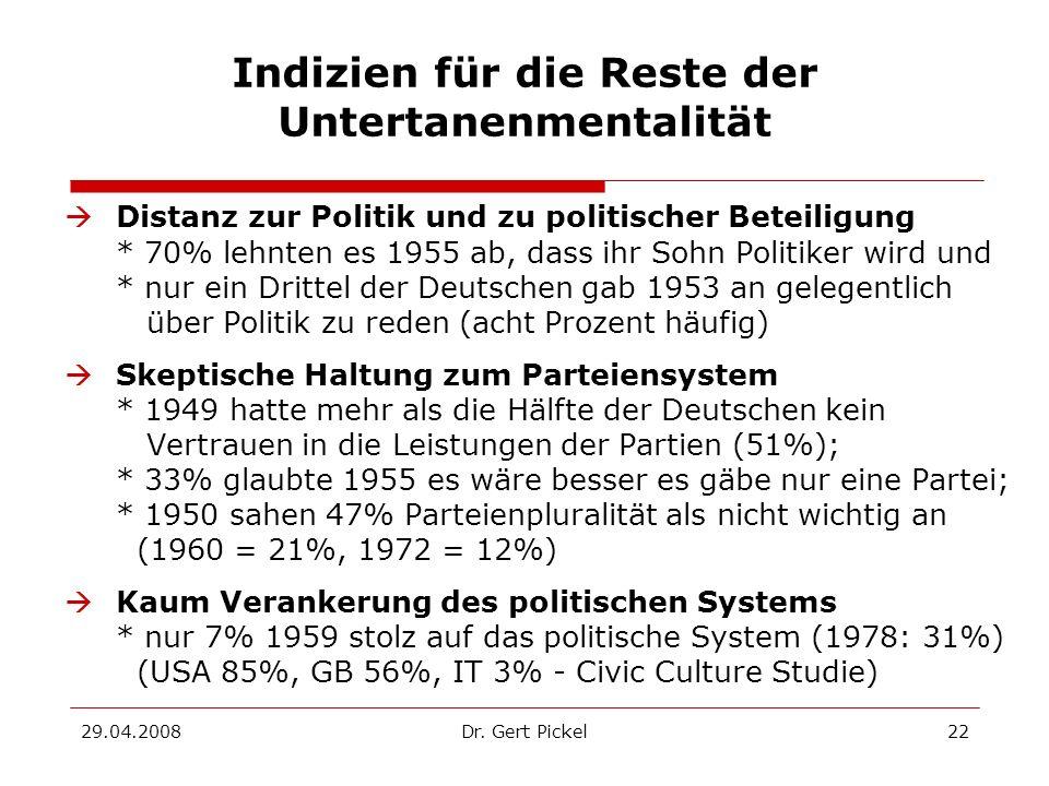 29.04.2008Dr. Gert Pickel22 Indizien für die Reste der Untertanenmentalität Distanz zur Politik und zu politischer Beteiligung * 70% lehnten es 1955 a